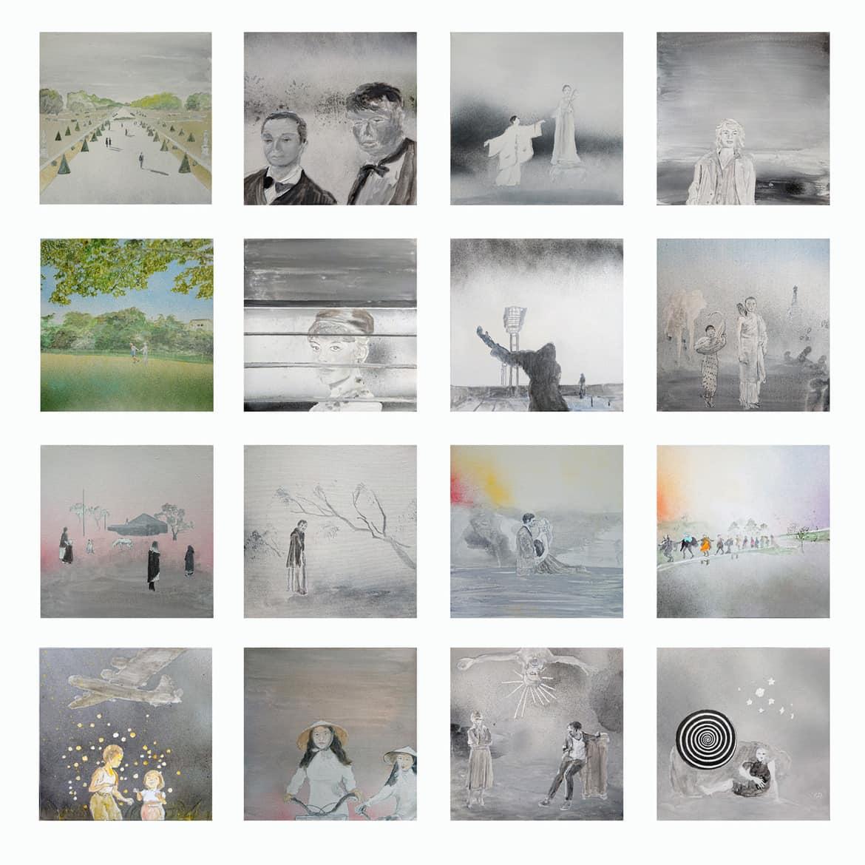 Tim Johnson, '16 Art films', 2019, acrylic on canvas, set of 16 paintings, <br /> ca. 100 x 120 cm overall, 20 x 25 cm