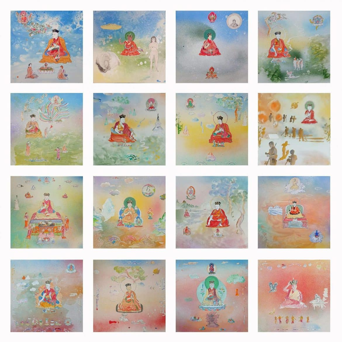 Tim Johnson, '16 Karmapas', 2019, acrylic on canvas, set of 16 paintings, <br /> ca. 100 x 120 cm overall, 20 x 25 cm each