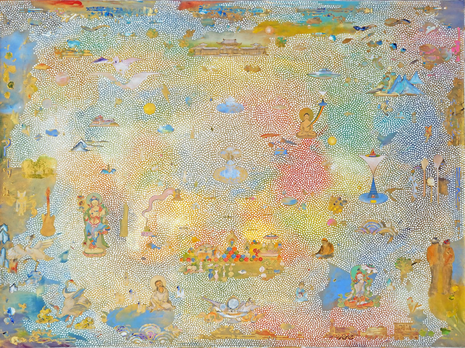 'Approaching Mt Meru', 2017, acrylic on linen, 92 x 122 cm