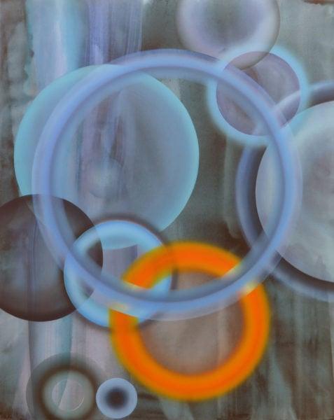 'Cerulean, Cobalt, Chromorange: No 1', 2018, acrylic and oil on canvas, 200 x 160