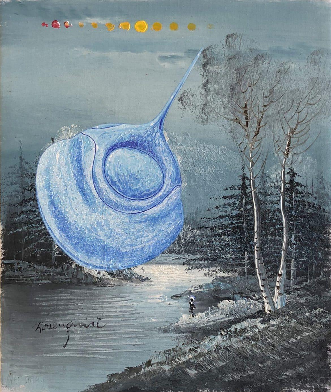 Tim Johnson and Daniel Bogunovic, 'Clam Bake 2', 2019, acrylic on sourced canvas  painting,  25 x 20 cm