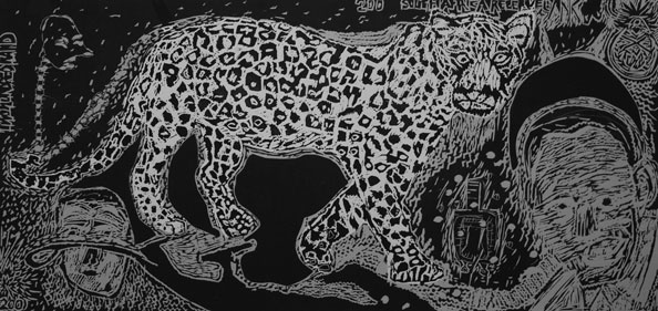 'Leopard and Madiba', 2012, Linocut, 65 x 120 cm (unframed size), edition of 7