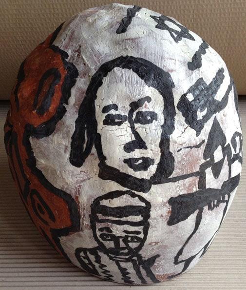 'BBW', 2013, dry glazed ceramic, 30 cm diameter