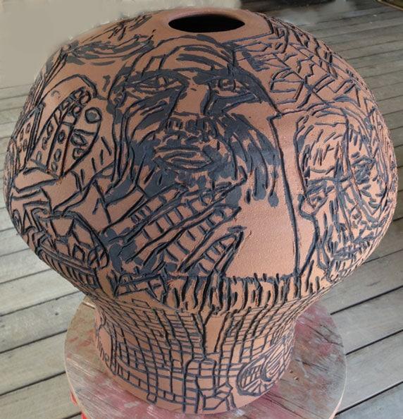 Madiba and the wild car guards syndicate', 2013, dry glazed ceramic, 60 x 50 x 50 cm