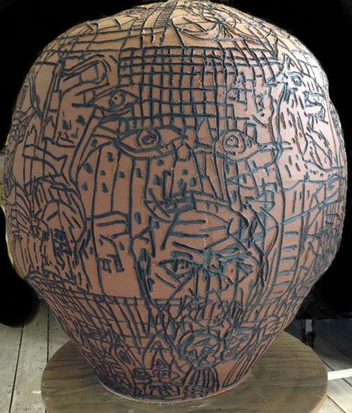 'Red Ants', 2013, dry glaze ceramic, 80 x 70 x 70 cm