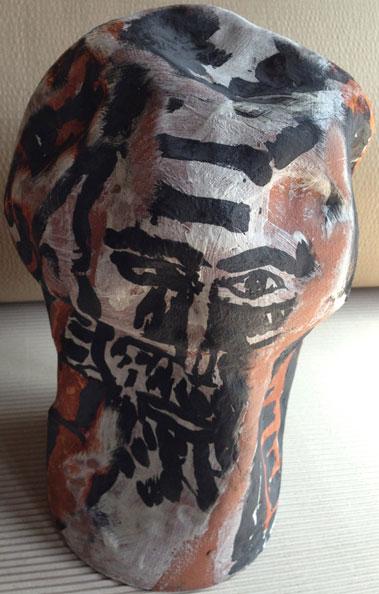 'Accused on trial', 2013, dry glazed ceramic, 40 x 23 x 23 cm
