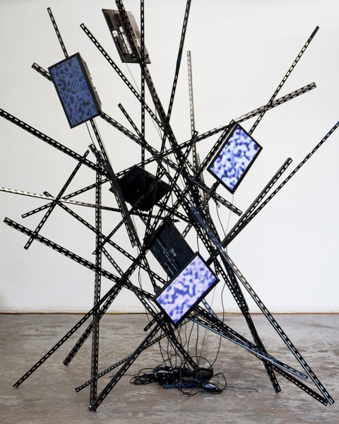 'Device Dependent Endorphins', 2015, Television screens, metal bars, media players, chords, 350 x 310 x 310 cm,