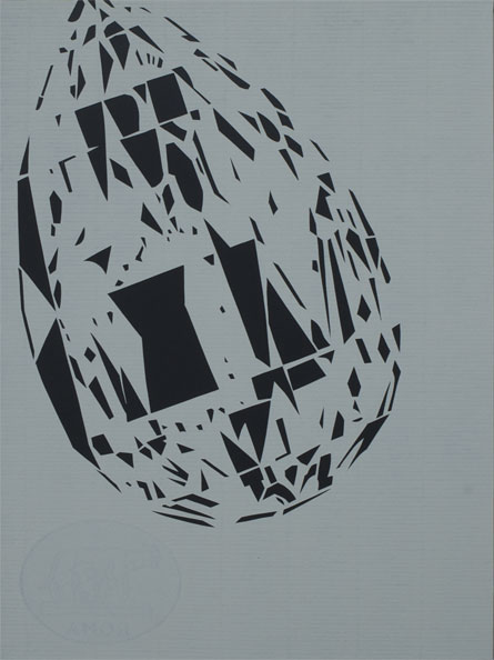 'Diamond (white)', 2009, 40 x 30 cm, cut-out, framed