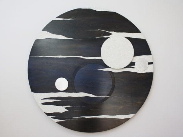 'Lunascape Night: No 2', 2017, duck eggshell, Kauri pine, MDF, oil paint, polyurethane, Dutch gold leaf, 115 x 6 cm deep