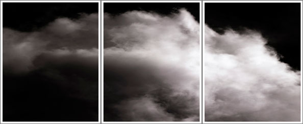 'Cumulus', Broken after travelling a considerable distance (triptych), 2014, Archival Pigment Prints, 120 cm x 288 cm, Ed 1/5
