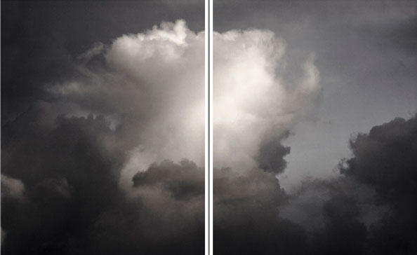 'Plume Cumulus', Disturbed by Electricity (diptych)', 2012, Archival Pigment Prints, 180 x 300 cm, framed, edition of 5 + 1 a.p.