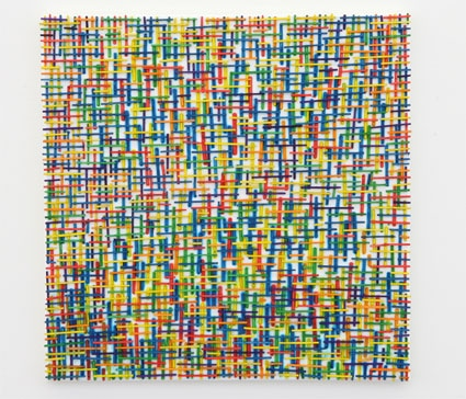'Kreuzweise', 2007, Wooden Sticks on Canvas, 45 x 45 cm