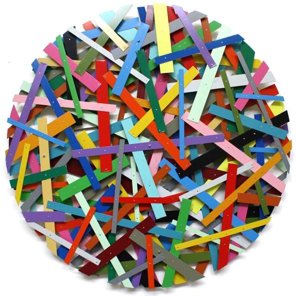 'SUPRAMAT auf drei Lagen', 2010, paint on aluminium, diameter 150 cm