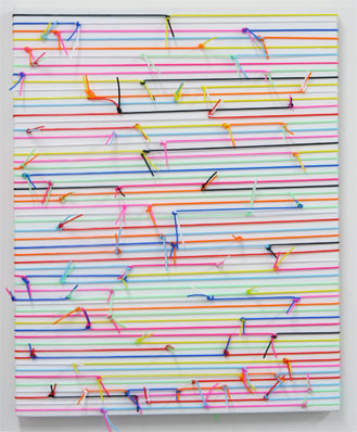 'Streifenbild geknotet', 2007, Plastic Tubes on Canvas, 51 x 41 cm