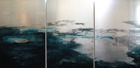 'Avec la mer du nord', 2010, Transfer/painting on aluminium, Triptych, 120 x 240 cm