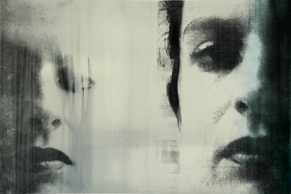 'Head #2', 2012, 40 x 60 cm, Transfer painting on aluminium