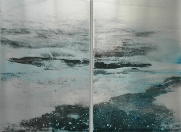 'Ice Shells' (Diptych), 2012, 60 x 80 cm, Transfer painting on aluminium