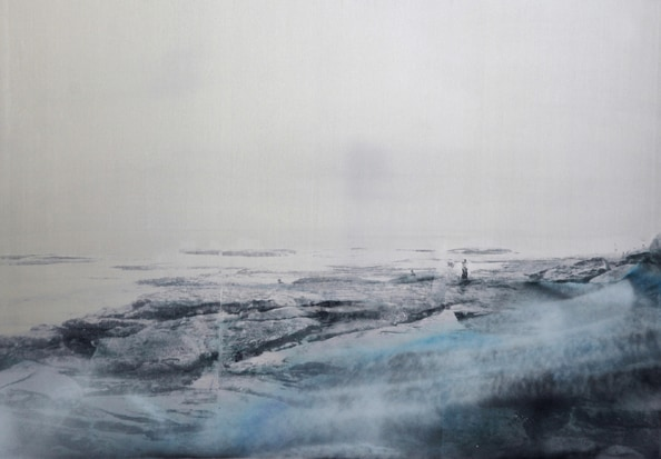 'La Vague', 2012, 80 x 120 cm, Transfer painting on aluminium