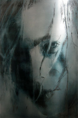 U.T., 2007, Transfer/ Painting on Aluminium, 67 x 100 cm