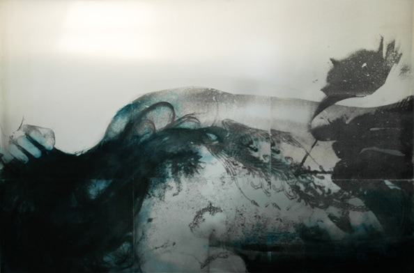 'U.T', 2010, Transfer/painting on aluminum, 80 x 120 cm