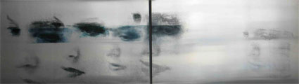 U.T., (Faces), 2008, Transfer painting on aluminum, 60 x 200cm