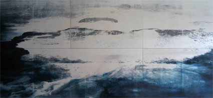 U.T., (Island Volcano - Sixtych), 2008, Transfer painting on aluminum, 80 x 180cm (each panel 40 x 60cm)
