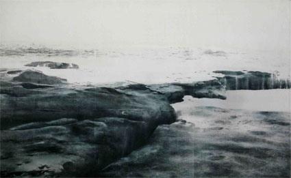U.T., (Landscape #2/Tamarama), 2008, Transfer painting on aluminum, 74 x 120cm