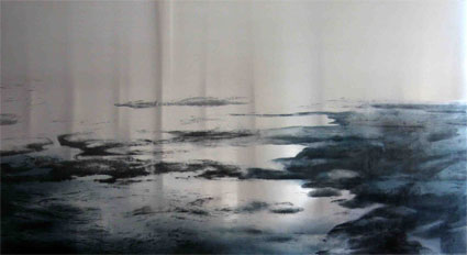U.T., (Long Reef), 2008, Transfer painting on aluminum, 100 x 180cm