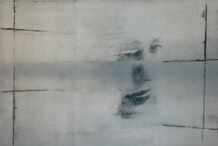 U.T. (lappland face), 2007, Transfer/ Painting on Aluminum, 66 x 100 cm