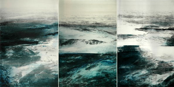 'UT (Triptych)', 2012, 60 x 120 cm, Transfer painting on aluminium