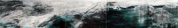 'Water Landscape #01', 2012, 20 x 120 cm, Transfer painting on aluminium