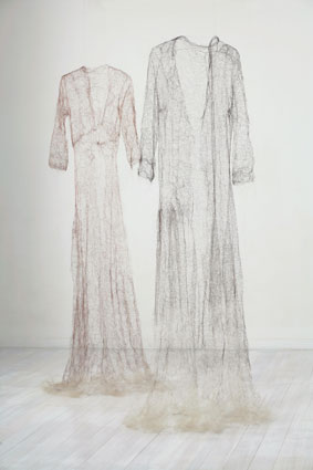 'Exhale', 2005, knitted human hair, 197 x 130 x 70cm