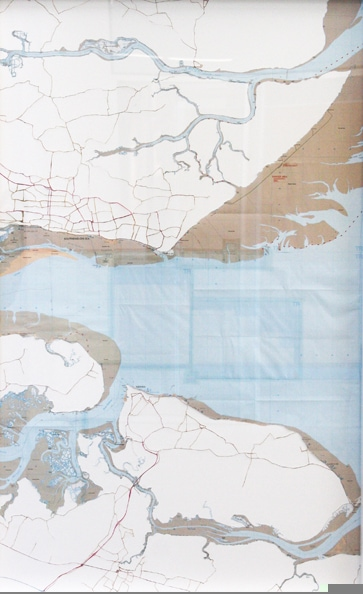 'Thames 1', 2010, hand-cut ordnance, survey maps on rag board, framed. Edition of 5 + 1 AP. 75 x 48 cm