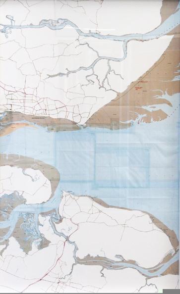 'Thames 1', 2010, hand-cut ordnance, survey maps on rag board, framed. Edition of 5 + 1 AP. 75 x 48 cm