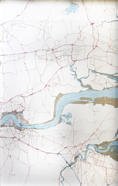 'Thames 2', 2010, hand-cut ordnance, survey maps on rag board, framed. Edition of 5 + 1 AP. 75 x 48 cm