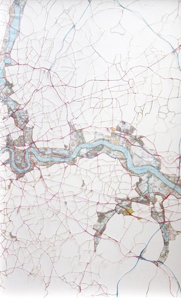 'Thames 3', 2010, hand-cut ordnance, survey maps on rag board, framed. Edition of 5 + 1 AP. 75 x 48 cm