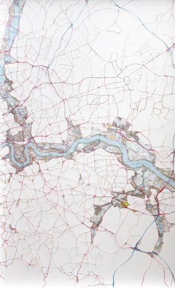 'Thames 3', 2010, hand-cut ordnance, survey maps on rag board, framed. Edition of 5 + 1 AP. 75 x 48 cm