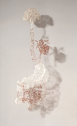'Untitled (brain heart gut)', 2007, knitted human hair, 94 x 34 x 30cm
