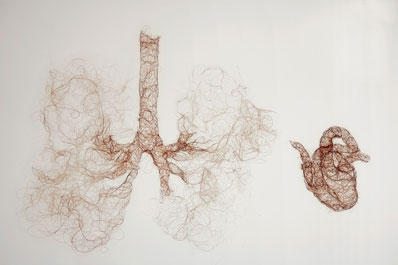 'Untitled (heart lungs)', 2007, knitted human hair, 25 x 40 x 15cm