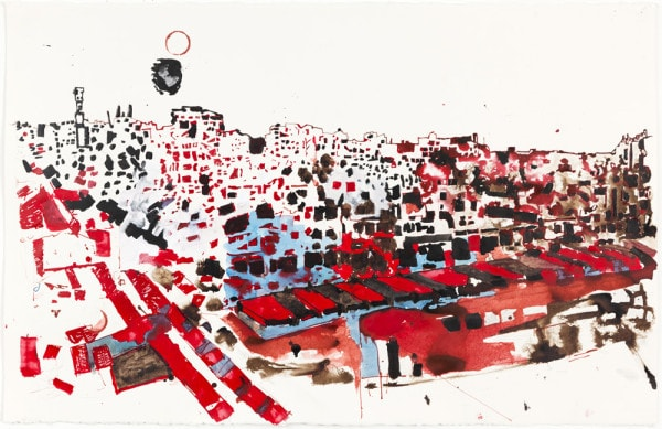 'Homs', 2014, ink on paper, 66 x 101 cm