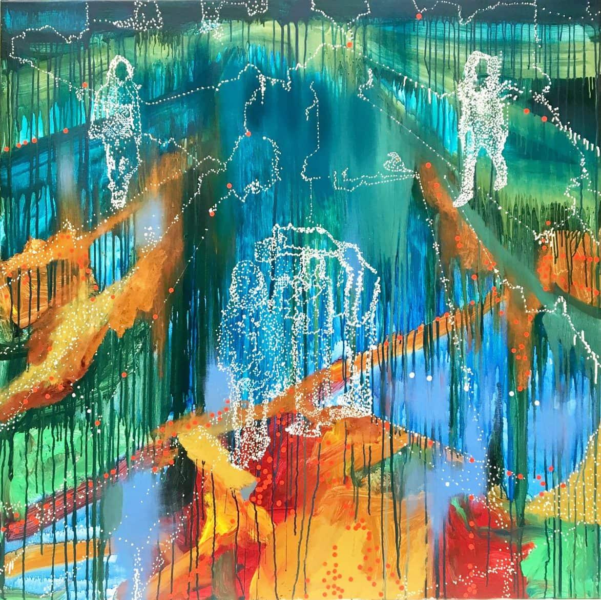 Jon Cattapan, 'Precipice group', 2017, Oil and Acrylic on Linen, 140 x 140cm