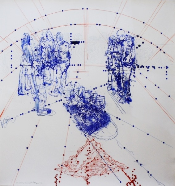 'Atonal Group Cannareggio 1', Monotype series, 2014, Oil and pencil on paper, 145 x 145 cm, framed