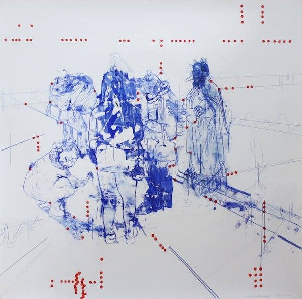 'Atonal Group Cannareggio 2', Monotype series, 2014, Oil and pencil on paper, 145 x 145 cm, framed