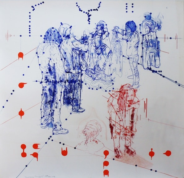'Atonal Group Cannareggio 3', Monotype series, 2014, Oil and pencil on paper, 145 x 145 cm, framed