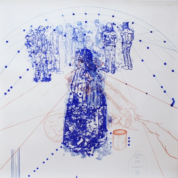 'Atonal Group Cannareggio 4', Monotype series, 2014, Oil and pencil on paper, 145 x 145 cm, framed