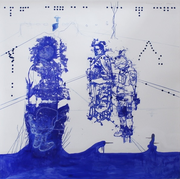 Jon Cattapan 'Atonal Group Cannareggio 5', Monotype series, 2014, Oil and pencil on paper, 145 x 145 cm, framed