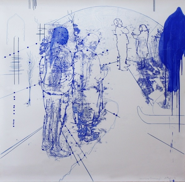 'Atonal Group Cannareggio 6', Monotype series, 2014, Oil and pencil on paper, 145 x 145 cm, framed