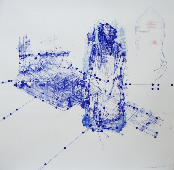 'Atonal Group Cannareggio 8', Monotype series, 2014, Oil and pencil on paper, 145 x 145 cm, framed