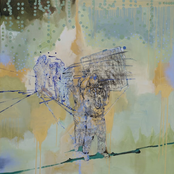 'Carriers No2', 2011, oil and acrylic on linen, 140 x 140cm