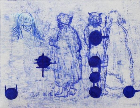 'Masked Group XVII', Monoprint series, 2014, 40 x 40 cm, framed